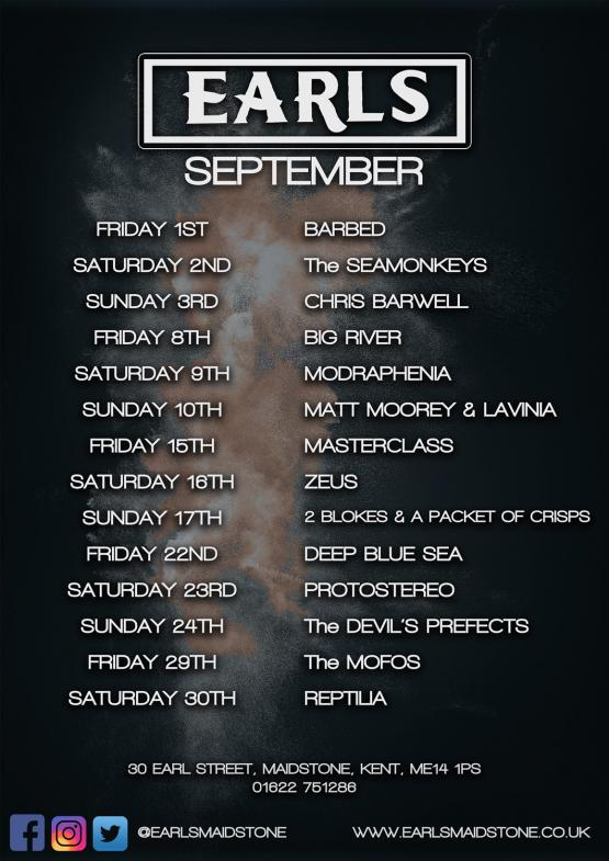 The Coming Month at Earls, Maidstone